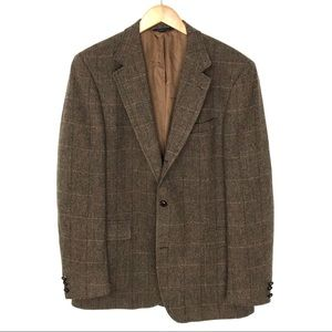 Brooks Brothers 44L Brown Herringbone Wool Blazer